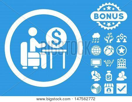 Banker Office icon with bonus symbols. Vector illustration style is flat iconic symbols, white color, blue background.