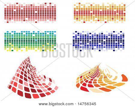várias formas e cores pixels