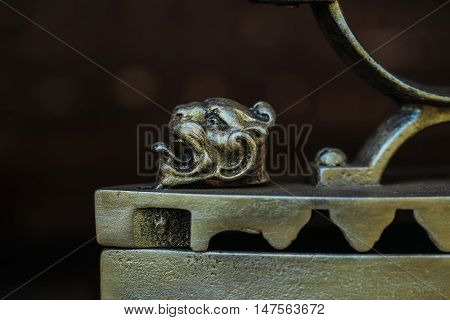 Animal Head On Antique Metallized Iron
