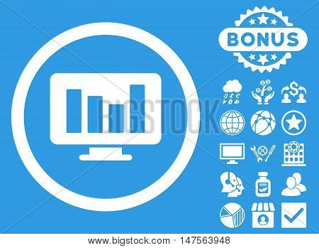 Bar Chart Monitoring icon with bonus pictures. Vector illustration style is flat iconic symbols, white color, blue background.