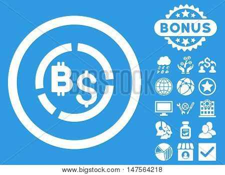 Bitcoin Financial Diagram icon with bonus symbols. Vector illustration style is flat iconic symbols, white color, blue background.