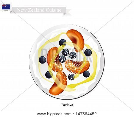 New Zealand Cuisine Pavlova Meringue Cake Top with Blueberries and Apricot. One of Most Popular Dessert in New Zealand.