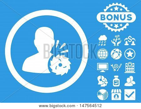 Body Execution icon with bonus design elements. Vector illustration style is flat iconic symbols, white color, blue background.