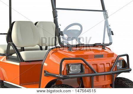 Golf car orange golfing equipment, close view. 3D graphic