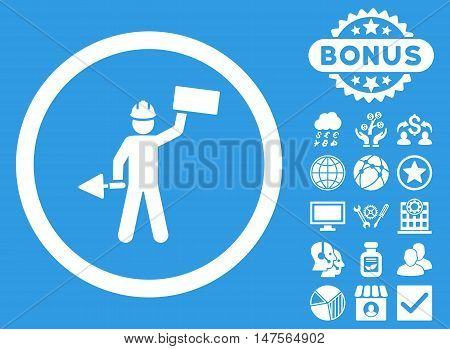 Builder With Shovel icon with bonus images. Vector illustration style is flat iconic symbols, white color, blue background.
