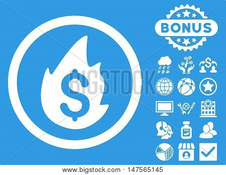 Business Fire Disaster icon with bonus pictures. Vector illustration style is flat iconic symbols, white color, blue background.