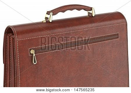 Bag classic brown leather with zipper, close view. 3D graphic
