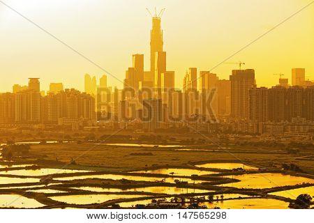 chinese city at sunset , Shen zhen