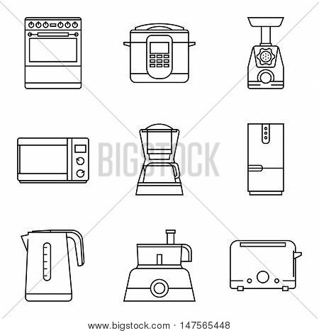 Vector kitchen equipment icons. Cooking isolate symbols. Set of Outline kitchenware pictogram.