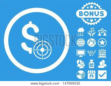 Business Target icon with bonus images. Vector illustration style is flat iconic symbols, white color, blue background.