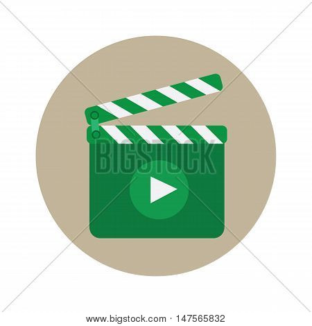 Movie clapper board icon with shadow illustraion