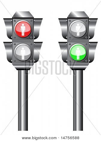 semaphore light with STOP and WALK sign