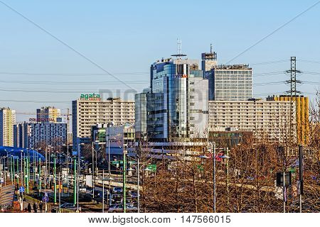 KATOWICE, POLAND - JANUARY 30, 2016: Katowice downtown view, in the foreground