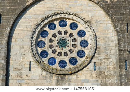 Rose Window In Portomarin Saint Nicholas Church