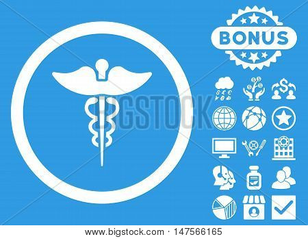 Caduceus icon with bonus elements. Vector illustration style is flat iconic symbols, white color, blue background.