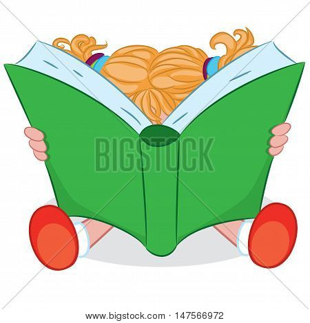 Cartoon little girl reading book. Vector illustration