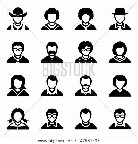 Vector People icon set on white background