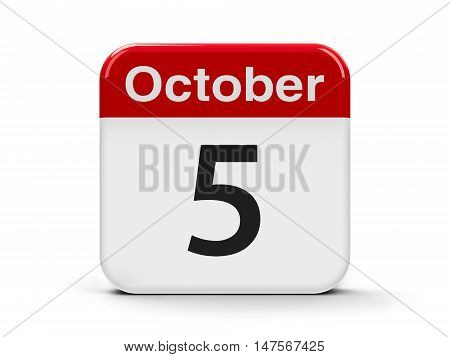 Calendar web button - The Fifth of October - World Teachers' Day three-dimensional rendering 3D illustration