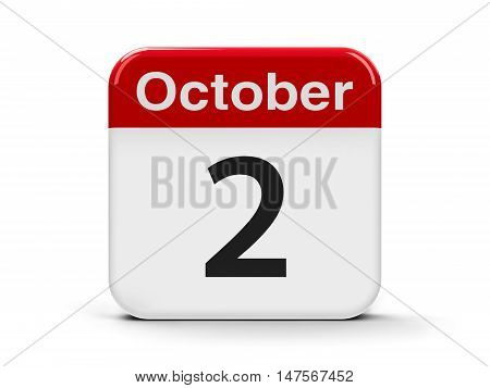 Calendar web button - The Second of October - International Day of Non-Violence three-dimensional rendering 3D illustration