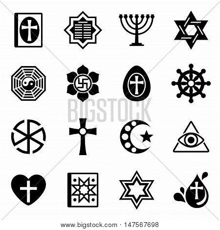 Vector Religion icon set on white background