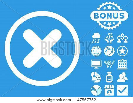 Cancel icon with bonus images. Vector illustration style is flat iconic symbols, white color, blue background.