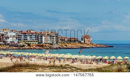 SOZOPOL, BULGARIA - JULY 17, 2016: Harmanite beach in Sozopol, one of the oldest Bulgarian towns, founded in the 7th century BC, nowadays one of the major seaside resorts in the country.