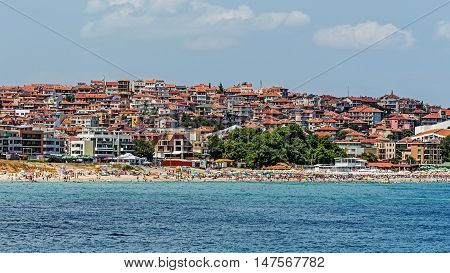 SOZOPOL, BULGARIA - JULY 17, 2016: Overall view of Sozopol, one of the oldest Bulgarian towns founded in the 7th century BC, nowadays one of the major seaside resorts in the country.