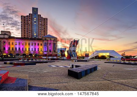 Adelaide Australia - September 16 2016: Spectacular view at Intercontinental Hotel Adelaide Casino and Adelaide Festival Centre with dramatic sunset on the evening