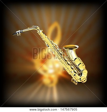 Saxophone on a blurred background of golden treble clef with flash. Achieved with a black background can be used with any image or text.
