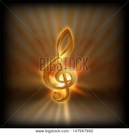 Golden treble clef with the flash on a blurred background. Performing on a black background can be used with any text or image.
