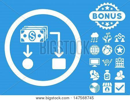 Cashflow icon with bonus images. Vector illustration style is flat iconic symbols, white color, blue background.