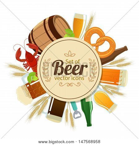 Circle shape template with colorful beer icons for packaging cards posters menu. Vector stock illustration.