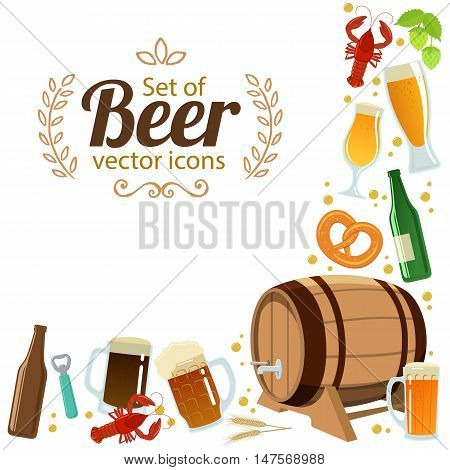 Corner frame of colorful beer icons isolated on white background. Vector stock illustration.