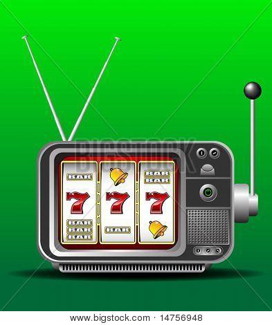 casino slot machine illustrated as TV