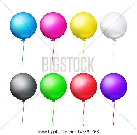 Vector set of eight bright colored circle balloons