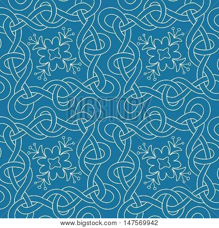 Vector seamless pattern of hand drawn white outlines interwoven ribbons and flowers on blue background