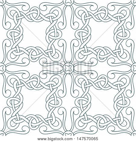 Vector seamless pattern of hand drawn square ornaments of outlines interwoven ribbons on white background