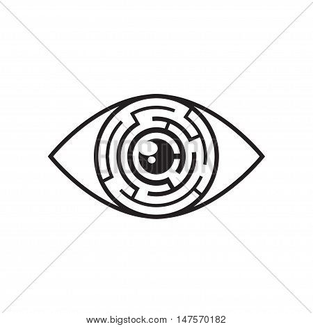 Vector monochrome illustration of eye with labyrinth in iris. Black eye maze icon