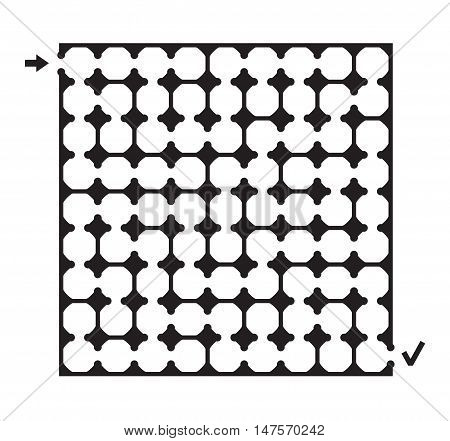 Vector illustration of black square maze with arrow and check mark