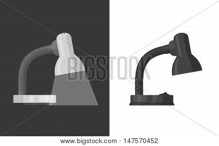 Illustration of white luminous lamp on dark background and black desk lamp isolated on white