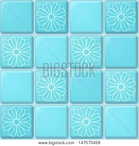 Vector seamless pattern of blue square mosaic with ornament of flowers. Tile background