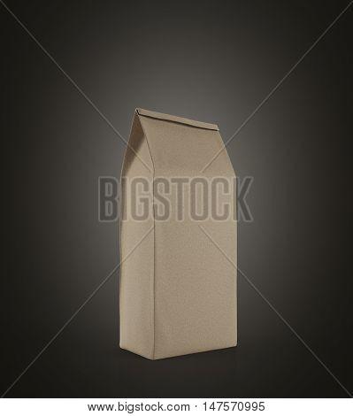 Beige Lunch Paper Bag Standing On Black Background