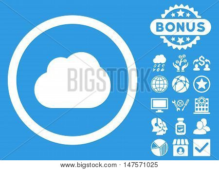 Cloud icon with bonus elements. Vector illustration style is flat iconic symbols, white color, blue background.