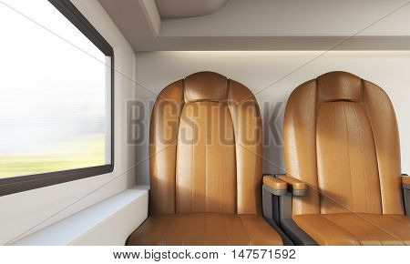 View of two brown leather armchairs in modern train compartment. Window with blurred view. Concept of contemporary ways to travel