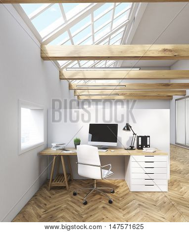 Office interior with tables computers windows in attic. Concept of telemarketing. 3d rendering. Mock up.