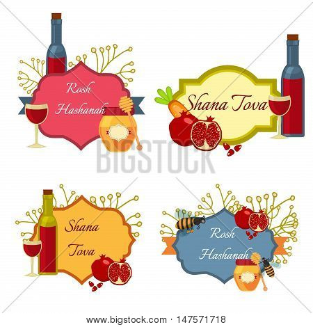 collection of labels and elements for Rosh Hashanah Jewish New Year. Shana tova Rosh Hashanah vector greeting card design for Jewish New Year. Rosh Hashanah celebration hashanah shana tova symbols