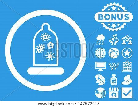 Condom Microbes icon with bonus symbols. Vector illustration style is flat iconic symbols, white color, blue background.