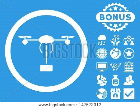 Copter Shipment icon with bonus symbols. Vector illustration style is flat iconic symbols, white color, blue background.