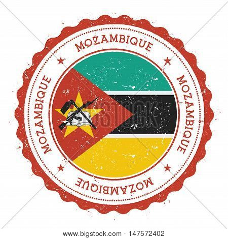 Grunge Rubber Stamp With Mozambique Flag. Vintage Travel Stamp With Circular Text, Stars And Nationa