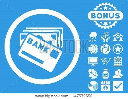 Credit Money icon with bonus elements. Vector illustration style is flat iconic symbols, white color, blue background.